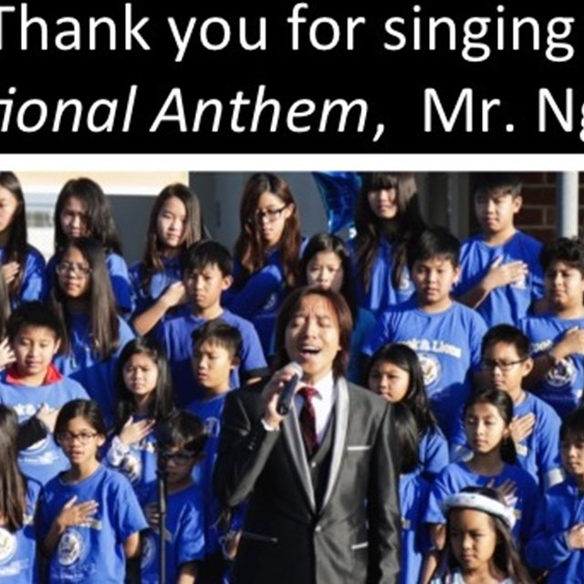 Mr. Nguyen sings the national anthem with passion. Good job Mr. Nguyen!