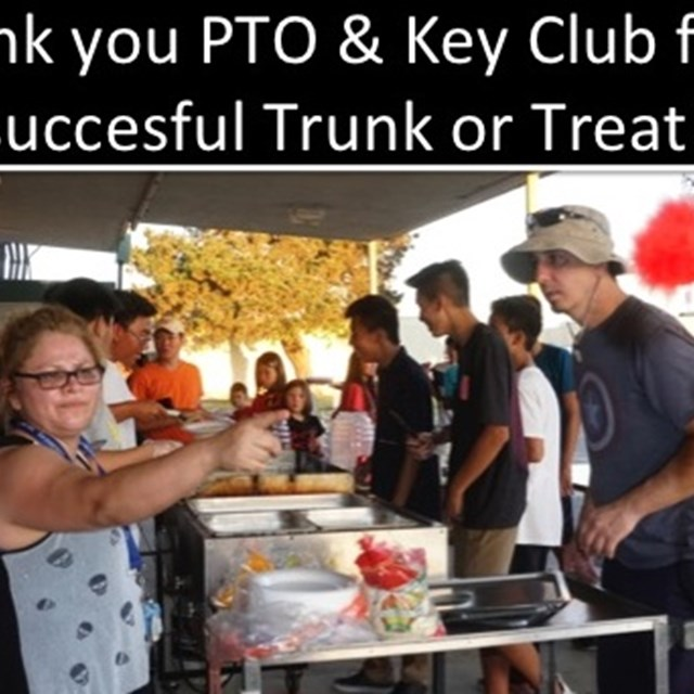The new school year opens up with a 'Trunk or Treat' event managed by P.T.O. parents and Key Club.