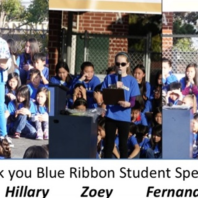 Hillary, Zoey and Fernando do a fabulous job as the student speakers for the Blue Ribbon acceptance celebration!