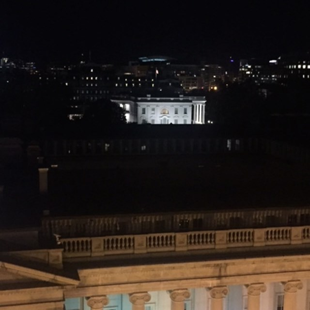 Students have a clear view of the White House from their rooms. The president is here!