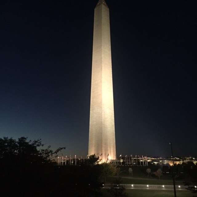 The Washington Monument's lights at night brighten the whole city!