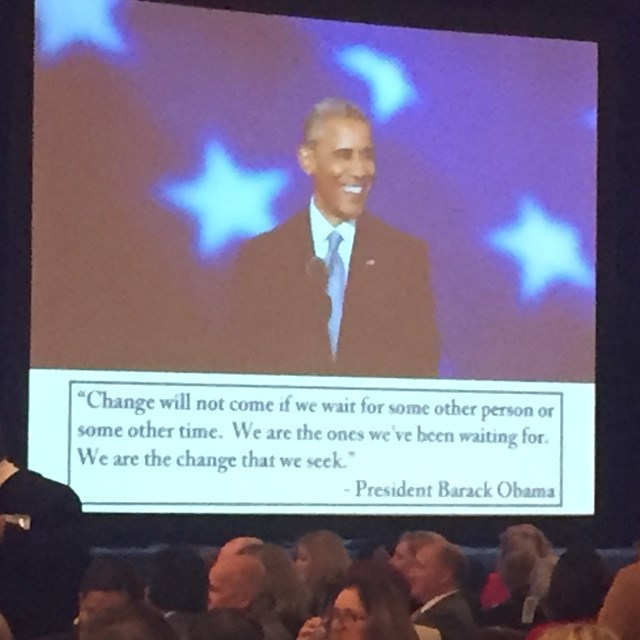 The celebration's presentation is inspirational with a video from our former president, Barrack Obama.