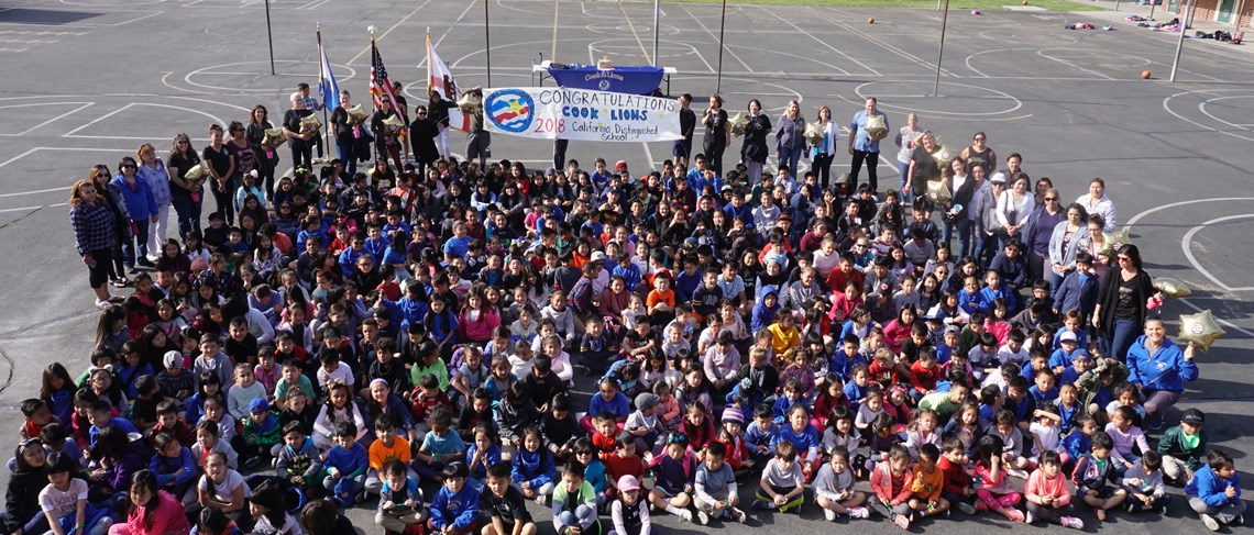 Students celebrate Cook Elementary being named a 2018 California Distinguished School!