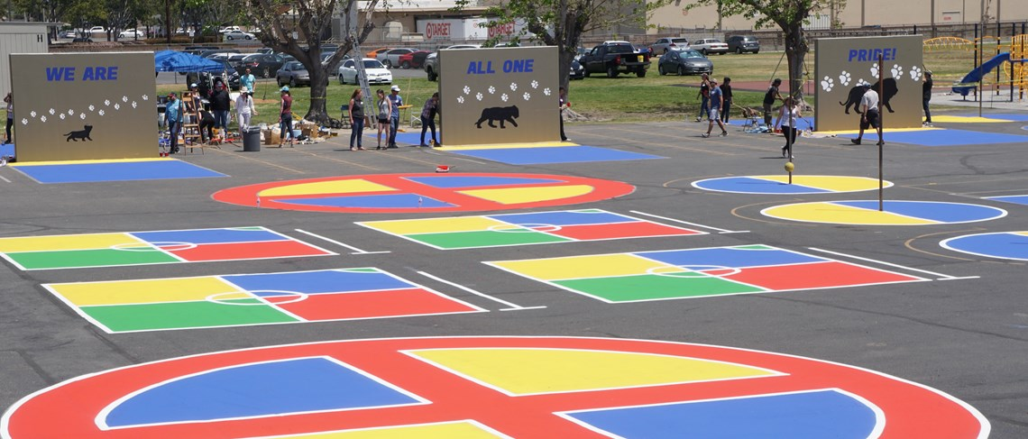 Recently, Cook received some campus upgrades including a colorful blacktop!